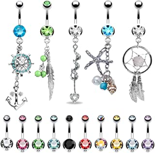 15 Belly Button Rings Dangle Barbells 14G Multicolor Surgical Steel CZ Navel Body Jewelry