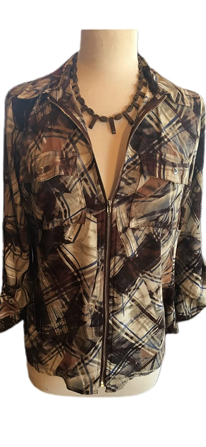 Custom Couture M brown and blue Courier shipping free shipping Sales results No. 1 with b print zip abstract blouse