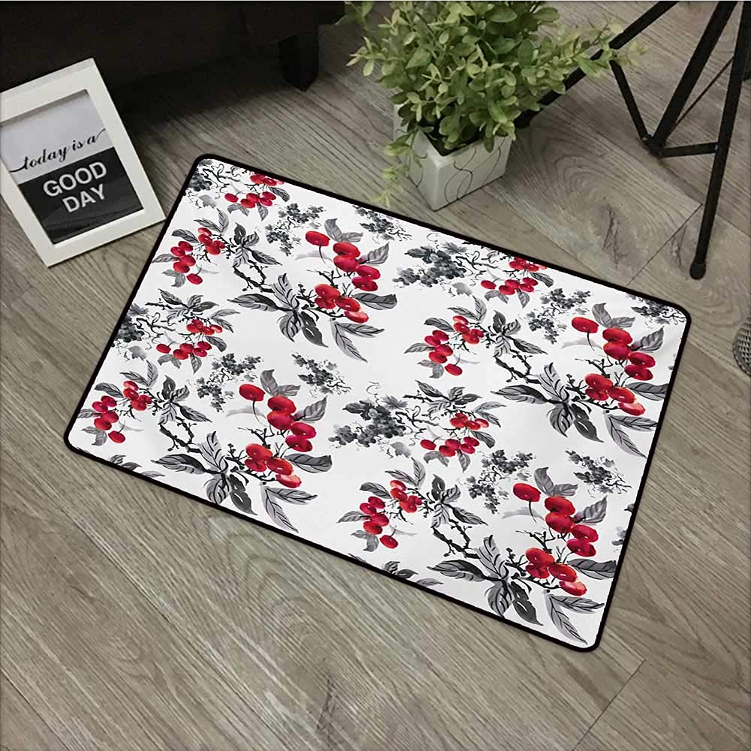 Floor mat W35 x L59 INCH Rowan,Abstract Modern Garden Theme with Artistic Rowan Plant Botanical Pattern Design,Ruby Grey Black Natural dye printing to predect your baby's skin Non-slip Door Mat Carpet