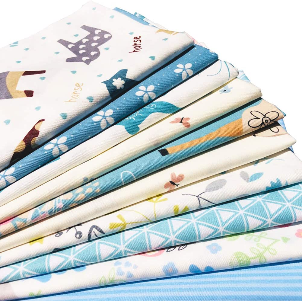 flic-flac 20 x 20 inches (51cmx51cm) Fat Quarter Cotton Quilting Fabric Thick Craft Printed Fabric High Density Bundle Squares Patchwork Lint DIY Sewing (10pcs, Blue)