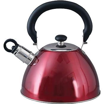 Mr. Coffee 91407.02 Flintshire Tetera silbante de acero inoxidable, 1.65 L, Rojo, 1.8-Quart, 1