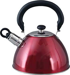 Mr. Coffee 72750.03 Morbern 1.8 Quart Stainless Steel Whistling Tea Kettle, Red
