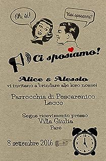 Partecipazioni matrimonio personalizzate inviti nozze vintage anni 50 10 pz