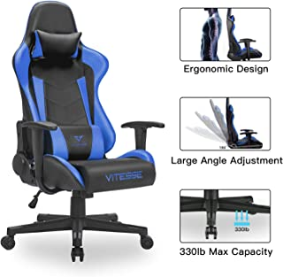 VIT Gaming Chair Racing Style High-Back PC Chair Ergonomic Office Desk Chair Swivel E-Sports Leather Computer Chair with Lumbar Support and Headrest (Blue)