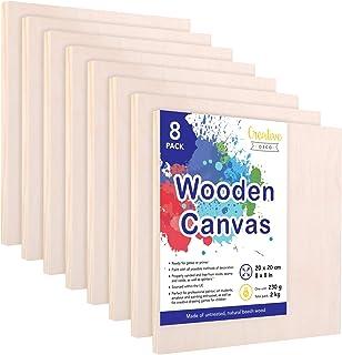 Creative Deco Tableros de Madera para Pintar   Set de 8 Piezas   20 x 20 cm   Canvas Lienzo Contrachapado   Ideal para Una Amplia Variedad de Proyectos Artísticos