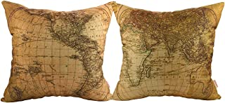 Luxbon Set of 2Pcs Geography Theme World Map Decor Throw Pillow Cases Nautical Decor Pillow Covers Cotton Linen Sofa Couch Chair Decorative Cushion Covers 18