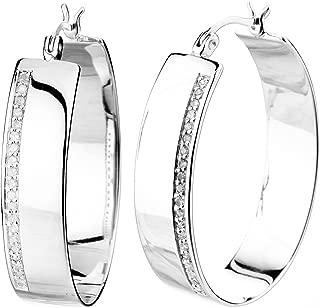 Vir Jewels 1/4 cttw Diamond Hoop Earrings .925 Sterling Silver 1.50 Inch