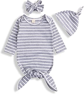 Newborn Baby Boy Girl Sleeper Gowns,Unisex Solid Color Sleeping Bags Swaddle Sack Coming Home Outfit 0-6 Months