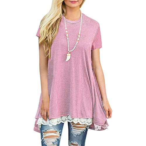 838c72bba0fc78 WEKILI Women s Tops Long Sleeve Lace Scoop Neck A-line Tunic Blouse