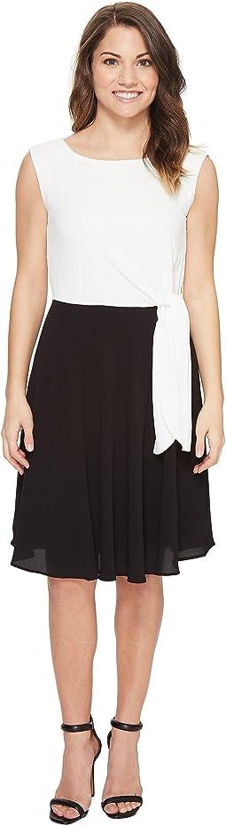 Petite Textured Crepe Side Tie Dress