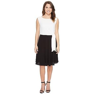 Tahari by ASL Petite Textured Crepe Side Tie Dress (Black/White) Women