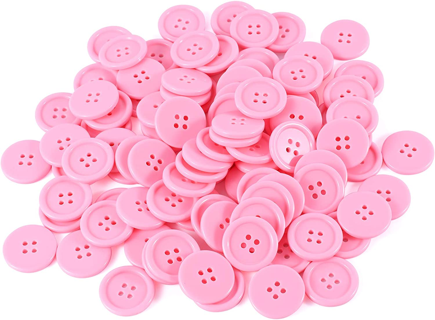 TAILINB 1 Inch Buttons for Sewing Resin Button, 4 Holes Round Craft Buttons for Sewing, DIY Crafts, Children's Manual Button Painting, Pink Colored Pack of 100