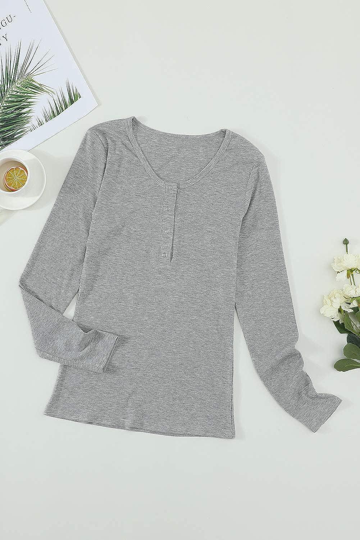 Damen Langarmshirts Rundhals Basic Oberteile mit Spitze Sleeves Slim Fit Einfarbig T-Shirt Oberteile Tops mit Button