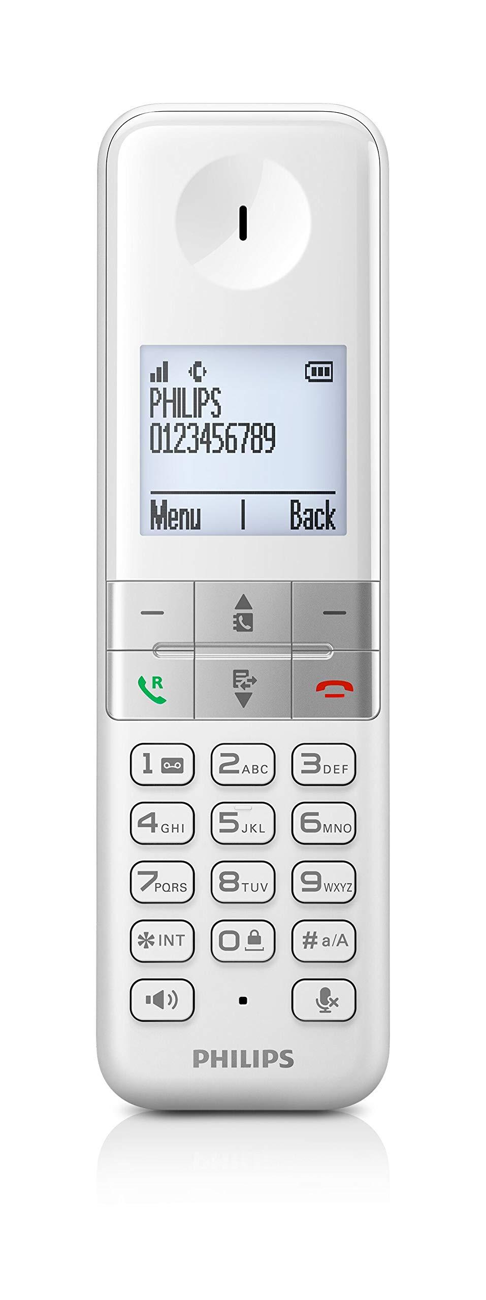 Philips D4701W/34 - Teléfono Fijo Inalámbrico (Pantalla Retroiluminada, HQ-Sound, 16 Horas, Contacto 2 Números, Manos Libres, My Sound, Modo Privado, Despertador, Indicador de Evento, Eco+) Blanco: Amazon.es: Electrónica
