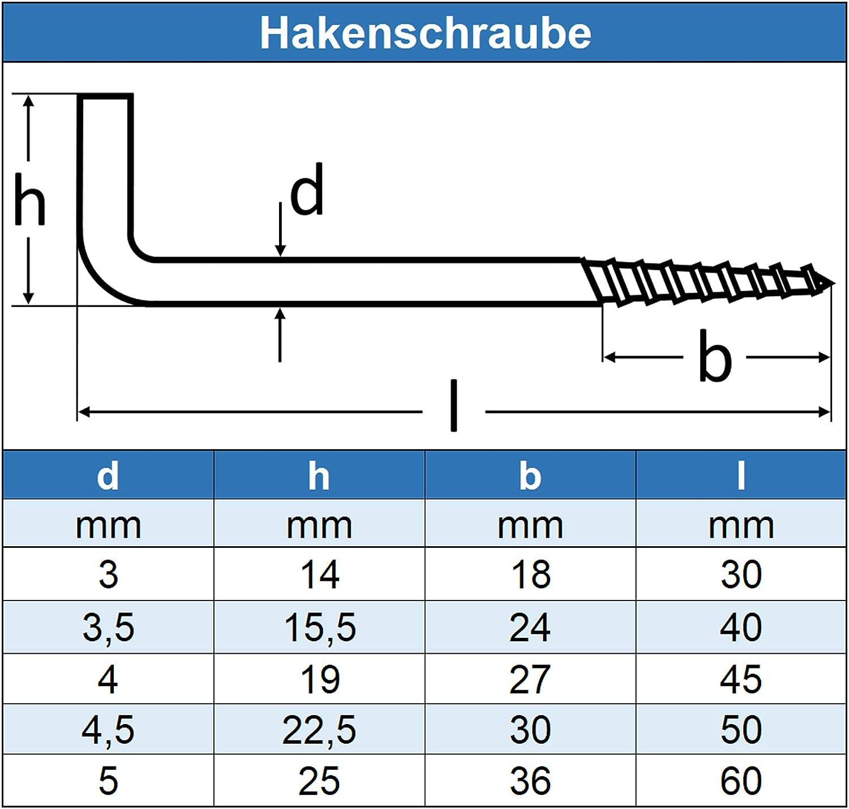 mit Holzgewinde rostfrei 3 x 30 mm Haken-Schraube Eisenwaren2000 - Schraubhaken gerade Ausf/ührung 5 St/ück Edelstahl A2 V2A
