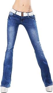 5f522004e3939 RED SEVENTY pour Femmes Hipster Bootcut Jeans Bleu foncé Lavage Extensible  + Ceinture Tailles UK 6