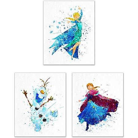 Frozen Wall Art Poster Decor bedroom Frozen watercolour prints 7 x A4