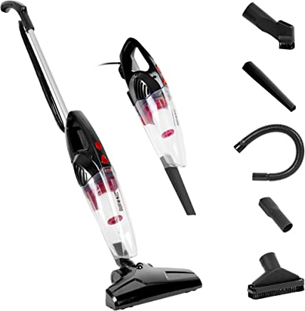 Duronic VC8/BK Stick Vacuum Cleaner | Energy Class A+ | HEPA Filter – Bagless | Black | 2-in-1: Converts from Upright Corded to Handheld Vac | Lightweight | Includes 4 attachments/brushes