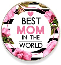 Yaya Cafe Birthday Gifts for Mom Floral Best Mom in The World Fridge Magnet - Round