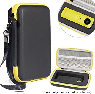 Protective Case for Ricoh Theta S, V 360 and Theta SC 360 Degree Spherica, Customized Dense Absorbing Sturdy Foam Inlay, Mesh Pocket Inside Matte Black+Yellow Zip