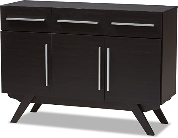 Baxton Studio 3 Drawer Sideboard In Espresso Brown Finish