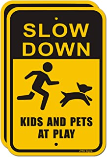 """ZHG Slow Down Kids and Pets at Play Signs 2-Pack, 18"""" x 12"""" Reflective Metal Children Playing Safety Signs, Rust Free Alum..."""