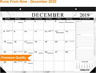Desk Calendar 2019-2020, Large Monthly Pages 17 x 12 inches Wall Calendar Daily Planner, Hanging 2-Year Runs from Now Through December