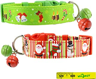 2 Pack Cute Soft Adjustable Sturdy Nylon Festive Christmas Holiday Dog Collars with 2 Bells for Medium to Large Dogs, 1 Inch Wide