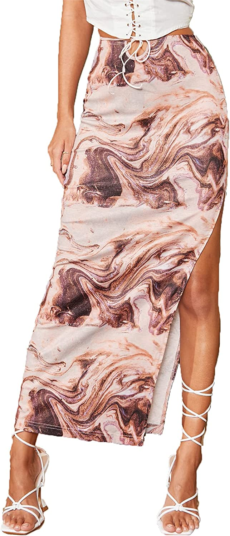 SheIn Women's High Split Marble Print Criss Cross High Waist Maxi Long Skirt