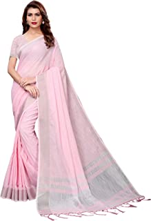a404a0436 AKHILAM Women's Handloom Linen Saree with Unstitched Blouse Piece  (Pink_2PRPMX28D)