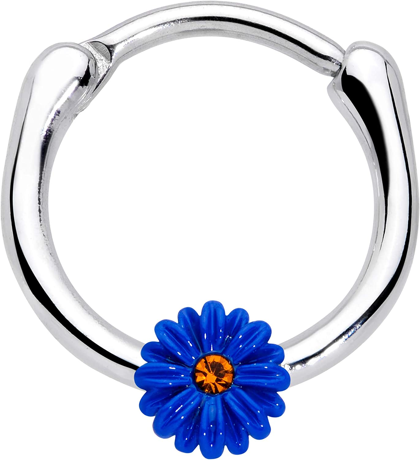 Body Candy 16G Womens Steel Septum Jewelry Yellow Accent Blue Sunflower Daith Tragus Cartilage Clicker 3/8