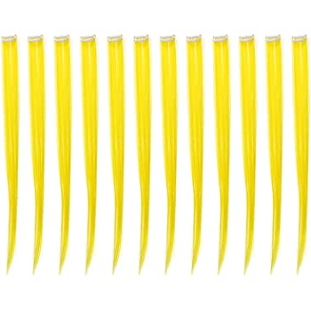 SWACC 12 Pcs Straight One Color Party Highlights Clip on in Hair Extensions Colored Hair Streak Synthetic Hairpieces (Yellow)