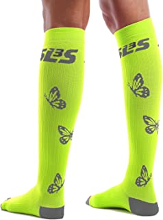 SLS3 Women Compression Socks | Stockings | for Running | Nursing | Travel | Knee High (Lemon Lime, S/M)