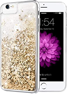 iPhone 6 6S 7 8 Case, Caka iPhone 6S Glitter Case [with Tempered Glass Screen Protector] Bling Flowing Floating Luxury Glitter Sparkle TPU Bumper Liquid Case for iPhone 6 6S 7 8 (4.7 inch) (Gold)