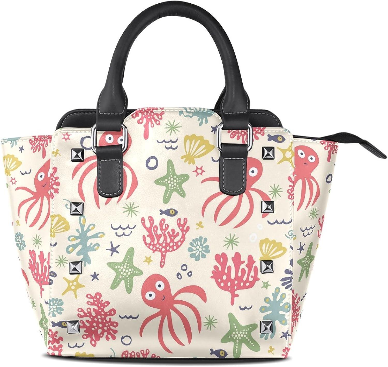 My Little Nest Women's Top Handle Satchel Handbag Octopus Ladies PU Leather Shoulder Bag Crossbody Bag