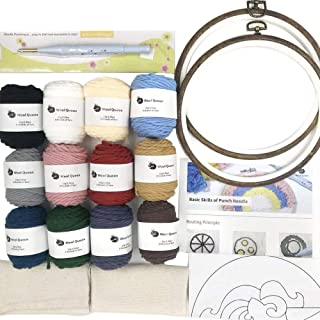 Wool Queen Punch Needle Beginner DIY Kit, 1 Punch Tool /12 Colors Yarn/Two 8.2'' Hoops & Monk's Cloth and 5 Design Drawings