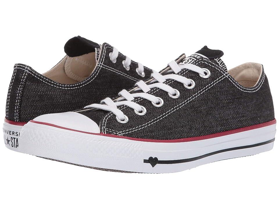 Converse Chuck Taylor(r) All Star(r) Denim Love Ox (Black/White/Garnet) Athletic Shoes