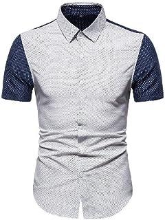 Abeaicoc Men's Sleeve 1/2 Polka Sleeve Short Dot Print Casual Button Up Color Block Dress Work Shirt