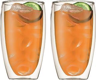 اكواب بافينا زجاج مزدوج الجدران من بودوم 2 قطعة- 15 اونصة، شفاف