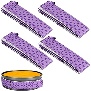 4-Piece Bake Even Strip,Cake Pan Dampen Strips,Super Absorbent Thick Cotton,Cake Strips for Baking,Cake Pan Strips