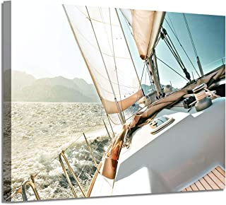 Nautical Picture Canvas Wall Art: Sailboat Artwork Seascape Print on Canvas for Office Bedrooms (36