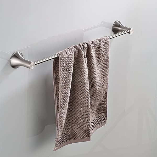 BESy 22 Inch Single Towel Bar For Bathroom SUS304 Stainless Steel Towel Holder Wall Mount With Screws Brushed Nickel Finish
