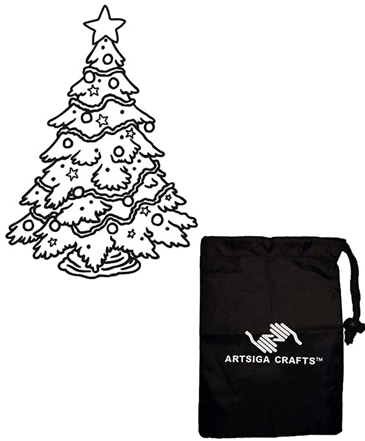 Darice Embossing Folders for Card Making Christmas Tree 4.5 x 5.75 1218-45 Bundle with 1 Artsiga Crafts Small Bag