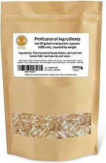 Capsulas vacias gelatina - Tamaño ''00'' - 1000 piezas. Capsulas vacias transparentes empaquetadas en bolsas 100% Biodegradables.
