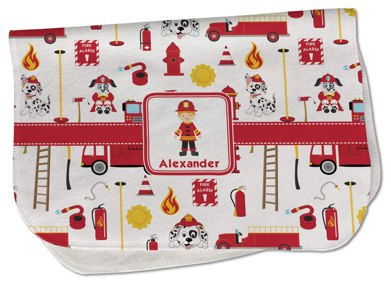 Firefighter Character Burp Bargain sale Cloth - w Max 69% OFF Fleece Name or Text