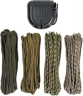Tactical Rope Dispenser Kit with 200 Feet of Durable, Lightweight 550 Paracord - Multi Purpose Tool (Military)