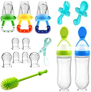 Food Feeder Baby Fruit Feeder Pacifier (3 Pcs) with 6 Different Sized Silicone Pacifiers 2 PCS Silicone Baby Food Dispensi...