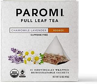 Paromi Tea Organic Chamomile Lavender Caffeine-Free Rooibos Tea, Non-GMO, 15 Pyramid Tea Bags
