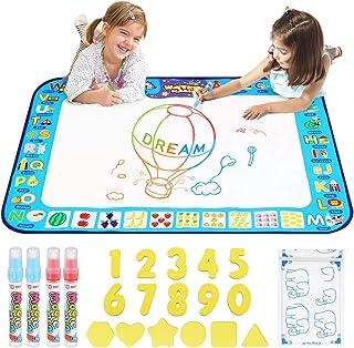 D-FantiX - Alfombrilla de agua para dibujar con 4 bolígrafos mágicos para niños, 4 colores, 38.5 x 30 pulgadas