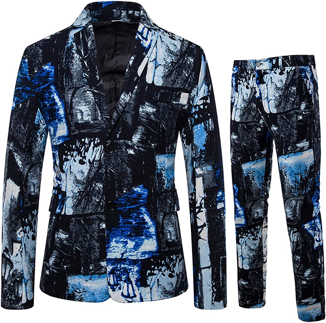 Men Plus Size Long Sleeve Blazer Jacket Pants Business Wedding Prom Suits Notched Lapel Blazer
